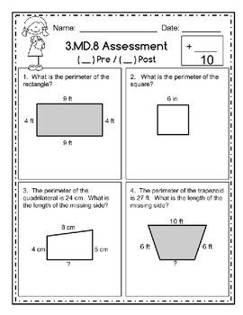 FREEBIE!!!  Third Grade Math Assessment - 3MD8