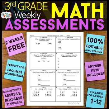 3rd Grade Math Assessments | 2 Weeks FREE