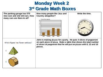 Third Grade Math Box Review