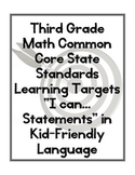 Third Grade Math CCSS Learning Targets/ I can Statements