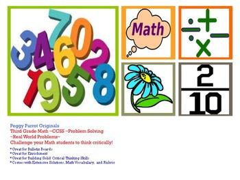 Third Grade Math CCSS Problem Solving: Word Problems, Solutions, & Rubric