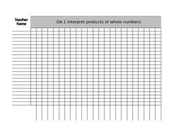 Third Grade Math CCSS Standards Based Grade Grid Sheet