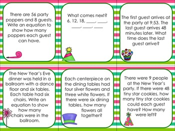 Third Grade Math Cards for January Themes