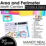 Third Grade Digital Math Centers Area and Perimeter | Dist