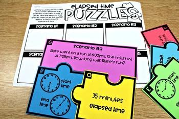 Third Grade Math Centers Elapsed Time, Perimeter, Area, and Measurement
