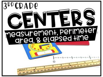 Third Grade Math Centers Elapsed Time, Perimeter, Area, an