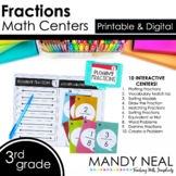 Third Grade Digital Math Centers Fractions | Distance Learning