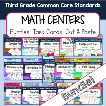 Third Grade Math Centers - Fractions, Multiplication, and Geometry