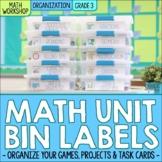 Third Grade Math Centers & Math Unit Organization Labels