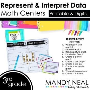 Third Grade Math Centers Represent & Interpret Data ~Digital for Google Classroo