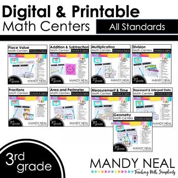 Third Grade Math Centers Bundle ~ Digital