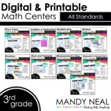 Third Grade Digital Math Centers Bundle   Distance Learning