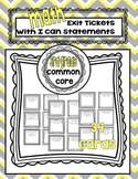 Third Grade Math Common Core Aligned Exit Tickets with I Can statements
