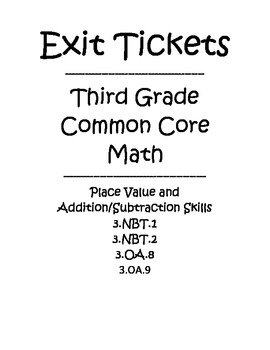 Third Grade Math Common Core Exit Tickets