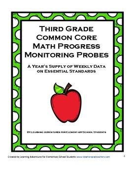 Third Grade Math Common Core Progress Monitoring Assessment Pack