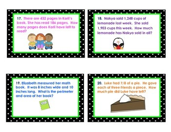 Third Grade Math Common Core Review Task Cards or Scoot