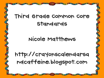 Third Grade Math Common Core Standards