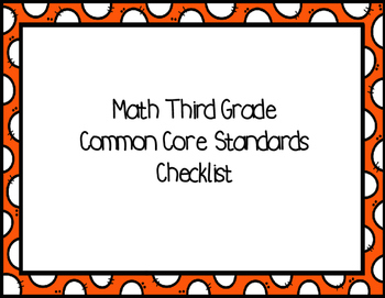 Third Grade Math Common Core Standards Checklist