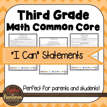 """Third Grade Math Common Core Standards - """"I Can"""" Statements"""