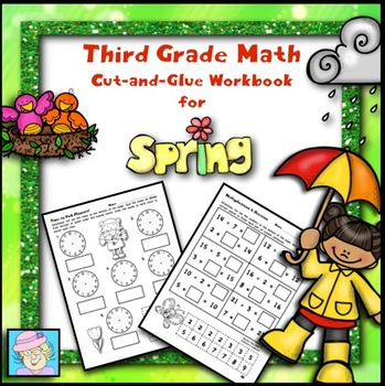 Third Grade Math Cut-and-Glue Workbook for Spring