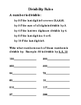Third Grade Math Divisibility Rules by 2 3 4 5 10 Problem Solving Printable