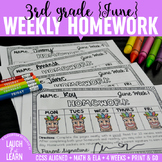 Third Grade Math & ELA Homework: June
