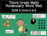 Third Grade Math EM4 Vocabulary Word Wall (Units 5 & 6)