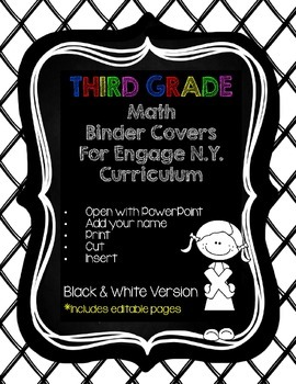 Editable Third Grade Math Engage New York Binder Covers - Black & White