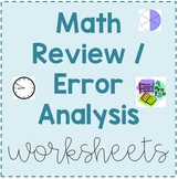 Third Grade Math Error Analysis / Test Review Worksheets
