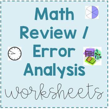 Third Grade Math Error Analysis / Test Review Worksheets