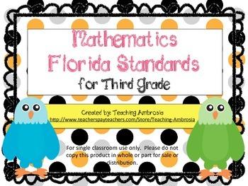 Third Grade Math FL Standards Checklist Eagle by Teaching
