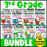 Third Grade Math Games Holidays Bundle: St. Patrick's Day Math, Easter Math etc
