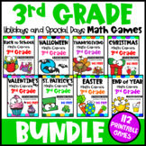 3rd Grade Math Games Holidays Bundle: Back to School Math, Halloween Math etc