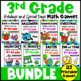 3rd Grade Math Games Holiday Bundle: St. Patrick's Day Math, Easter Math etc