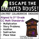 Third Grade Math Haunted House Halloween Themed Escape Room Activity