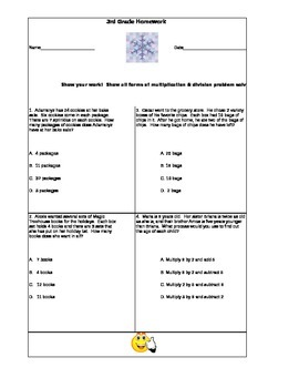 Third Grade Math Homework 1