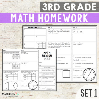 Third Grade Math Homework - Set 1