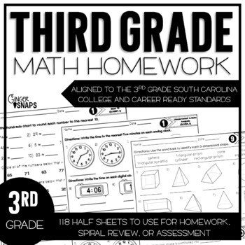 Third Grade Math Homework {South Carolina College and Career Ready Standards}