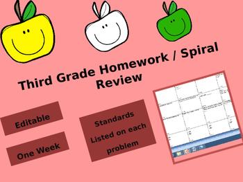 Third Grade Math Homework / Spiral Review - Common Core