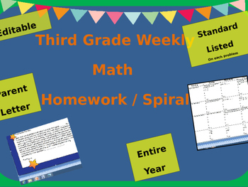 Third Grade Math Homework /Daily Math Review (Spiral) Entire Year - Common Core