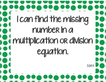 Third Grade Math I Can Statements