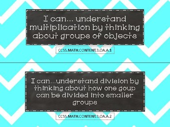 "Third Grade Math ""I Can"" Statements"