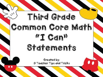 "Third Grade Math ""I Can"" Statements *DISNEY THEMED*"