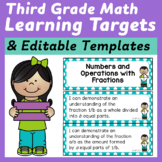 Third Grade Math Common Core I Can Statements and Editable