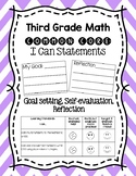 Third Grade Math I Can Statements with Goal Setting and Self-Reflection