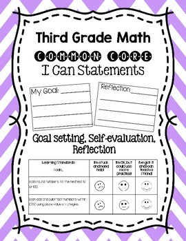 Bundle- Third Grade Math I Can Statements with Goal Settin