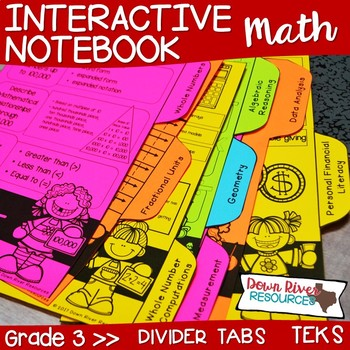 Third Grade Math Interactive Notebook: Divider Tabs for Organization (TEKS)