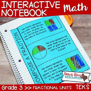 Third Grade Math Interactive Notebook: Fractional Units - Fractions (TEKS)