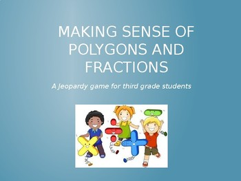 Third Grade Math Game PowerPoint: Geometry & Fraction Review Questions & Answers