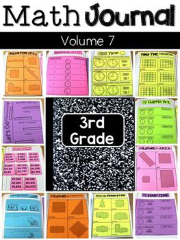 Third Grade Math Journal Volume 7 Elapsed Time, Area, Perimeter, and Measurement